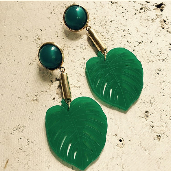 Leaf Statement Acrylic Earrings