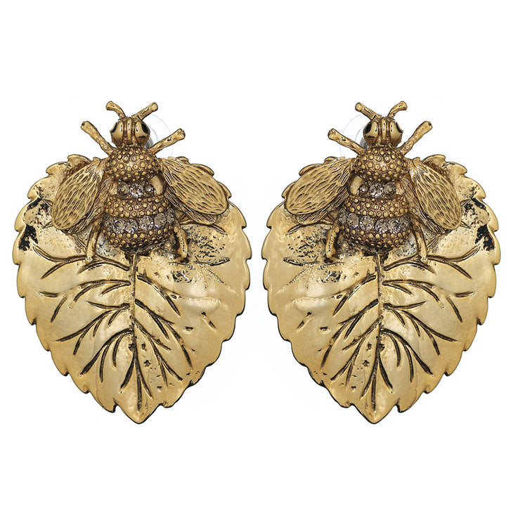 bee-leaves-stud-earring