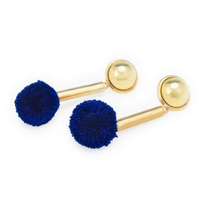 gold-plated-blue-pompom-earrings
