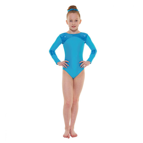 Long-sleeved foil/lycra gym leotard