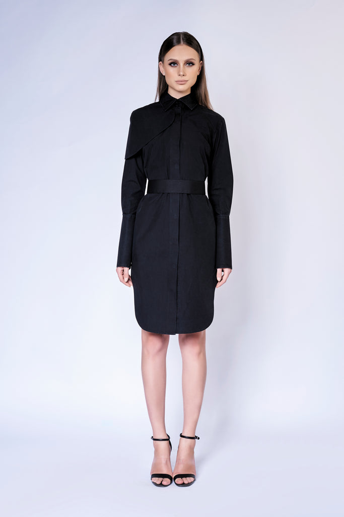 CURVED TRENCH MIDI SHIRT DRESS