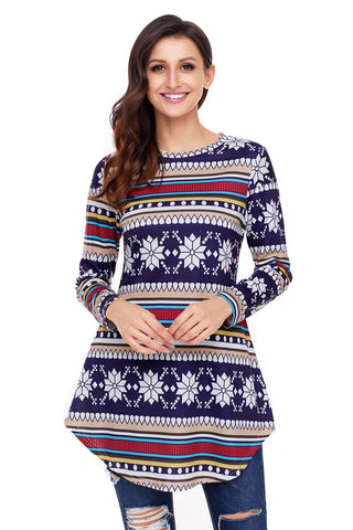 Navy Geometric Stripes Christmas Snowflake Blouse