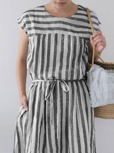Fashion Black Casual Striped Pocket Short Sleeve Plus Size Maxi Dress with Belt