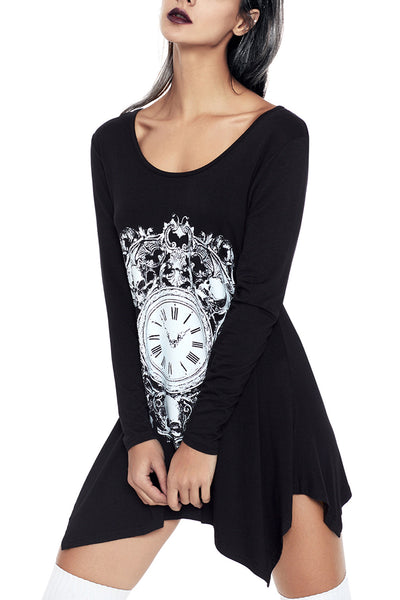 Black Handkerchief Hem Skull Timer Tunic Top