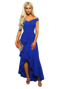 Blue Off The Shoulder Frill Detail Maxi Dress