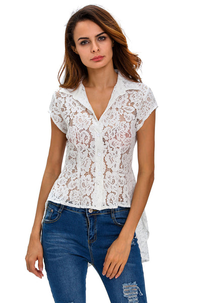 White Mermaid Tail Floral Lace Shirt