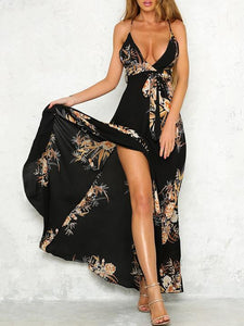 POPHERS Bohemia Spaghetti-neck Backless Maxi Dress