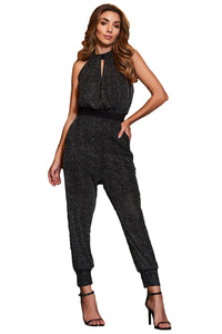 Black Metallic Sequin Jumpsuit