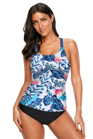 White Blue Floral Print Y Back Tankini Top