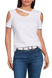 White Cut out Neck Cold Shoulder Slub Tee