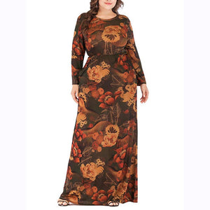 Plus Size Vintage Round Neck Long Sleeve Printed Colour Dress