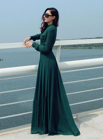 Sexy Flash Sale V-neck long-sleeve posed maxi dress