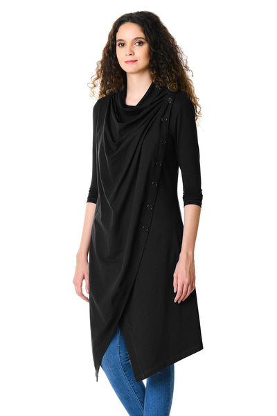 Black Cowl Neck Asymmetric Wrap Long Tunic