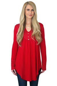 Red Polka Dot Peasant Tunic