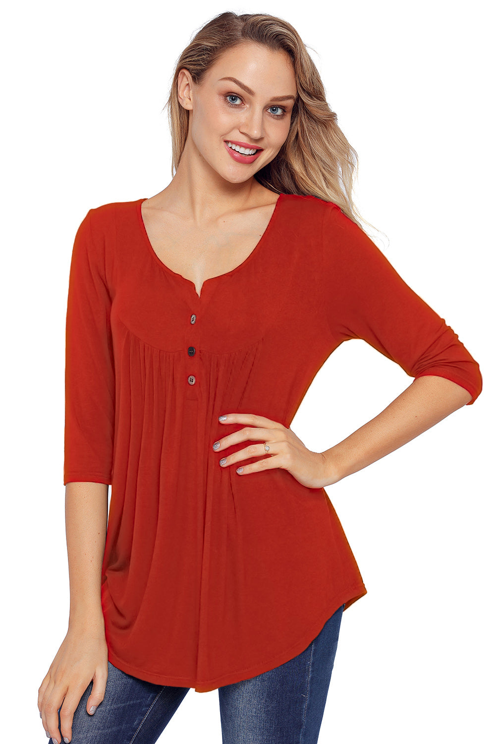 Red 3/4 Sleeve Button Detail Pleated Tunic