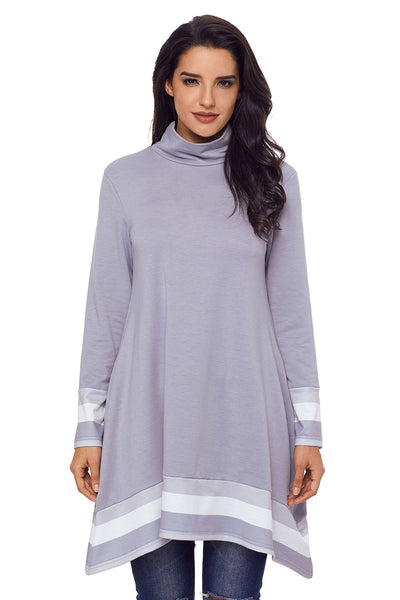 Stylish Varsity Striped Grey Long Sleeve Tunic Top