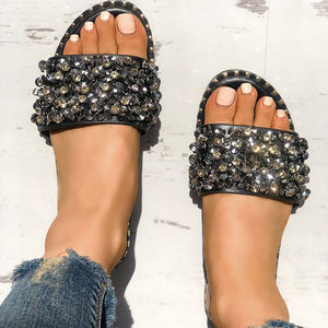 Sequins Shiny Peep Toe Antiskid Slippers