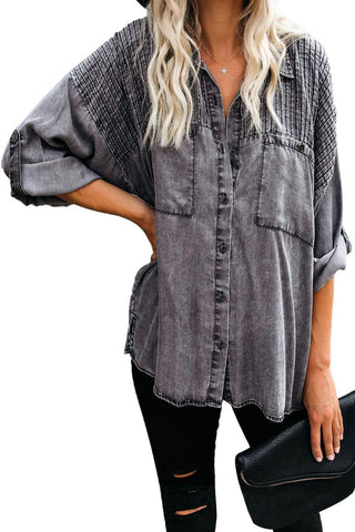 Gray Be A Rockstar Vintage Washed Button Down Top