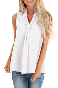 White Sleeveless Blouse Top with Front Twist
