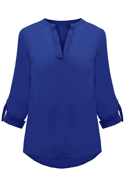 Royal Blue V Neck Loose Fitting Chiffon Blouse