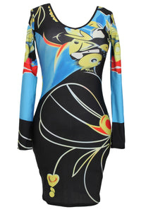 Sexy Bodycon Long Sleeves Print Dress