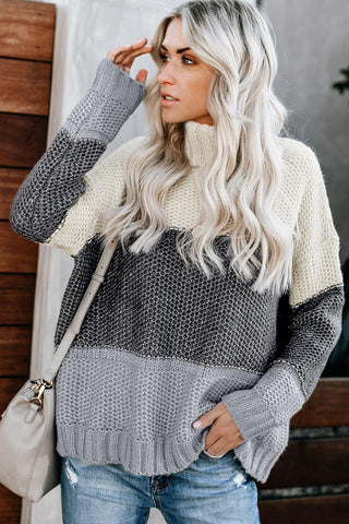 POPHERS Gray Color Block Netted Texture Turtleneck Sweater
