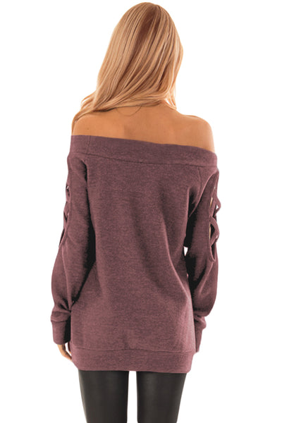 Russet-red Crisscross Cutout Long Sleeve Off Shoulder Top