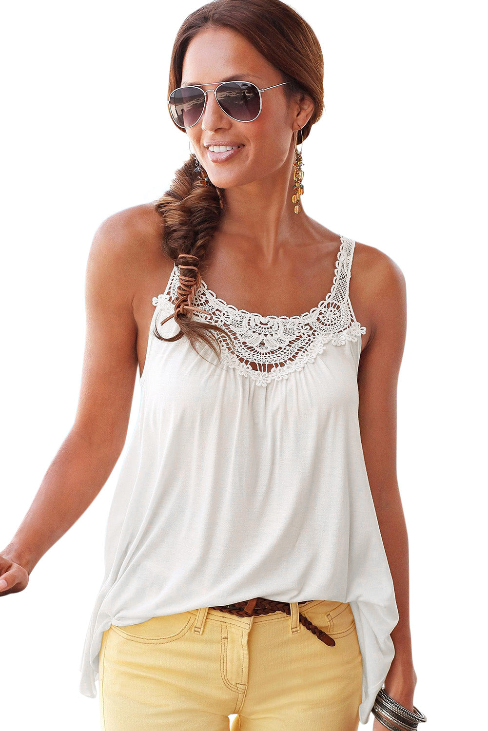 White Lace Patchwork Sleeveless Top