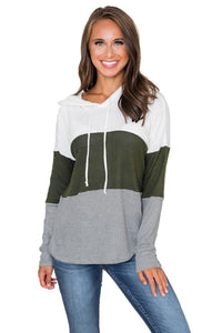 Green Color Block Drawstring Thumbhole Hoodie