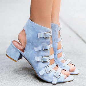 Multi-button buckle denim chunky sandals