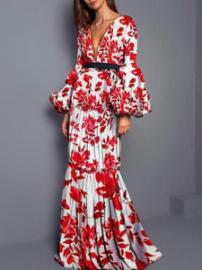 Sexy Printed Split Joint Maxi Dress