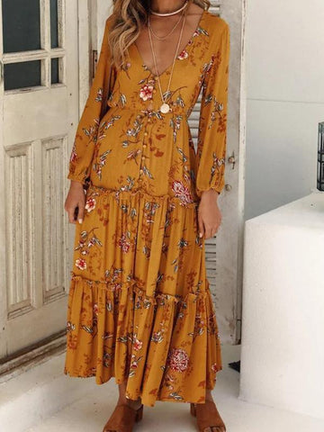 Stylish Fashion Floral Print Long Sleeve Maxi Dress