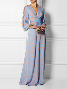 New Arrival Sexy V Neck Long Sleeves Maxi Dress