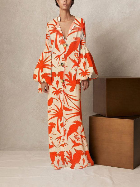 Stylish V Collar Long-Sleeved Printing Loose Casual Maxi Dress