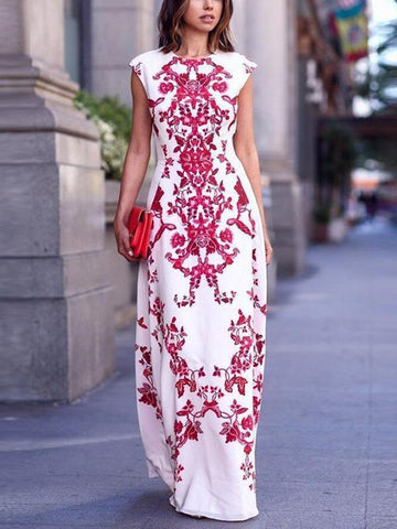 Stylish High Waist Slim Printed Maxi Dress