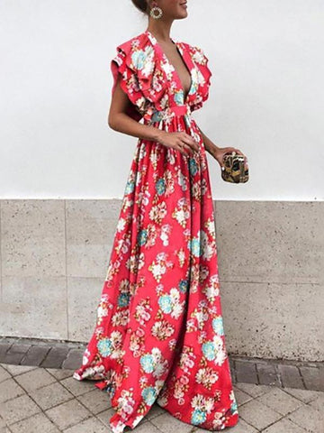 Sexy Deep V Bare Back Printed Colour Maxi Dresses