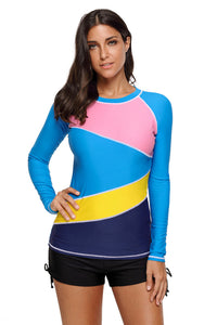 Colorblock Long Sleeve Rashguard Top