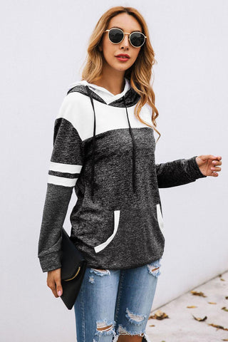 POPHERS Black Color Block Pullover Hoodie with Pocket