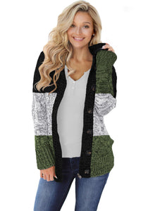 Green Hooded Button Cable Knit Cardigan