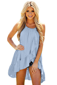 Light Blue Ruffle Wrap Spaghetti Straps Vest Top