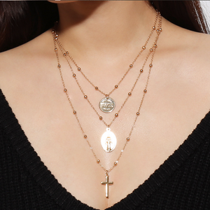 POPHERS Stylish Simple Cross Alloy Multilayer Brass Bead Women's Necklace