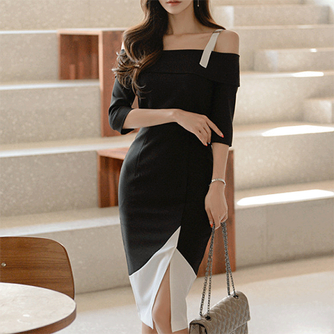POPHERS Temperament Off Shoulder Hit Color Split Bodycon Dress
