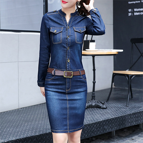 POPHERS Split Neck Denim Belt Flap Pocket Bodycon Dress