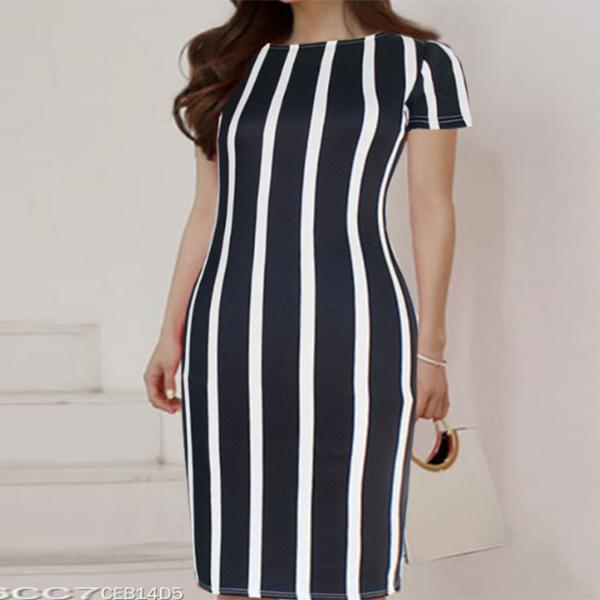 POPHERS Stripe Patchwork Bodycon Dresses
