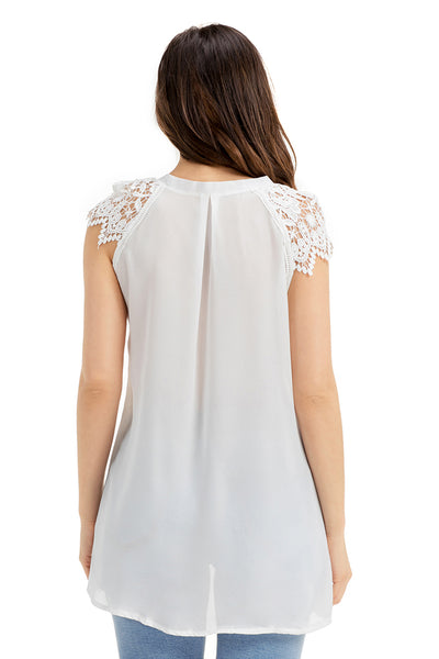 White Lace Sleeves Lace up Tunic Top