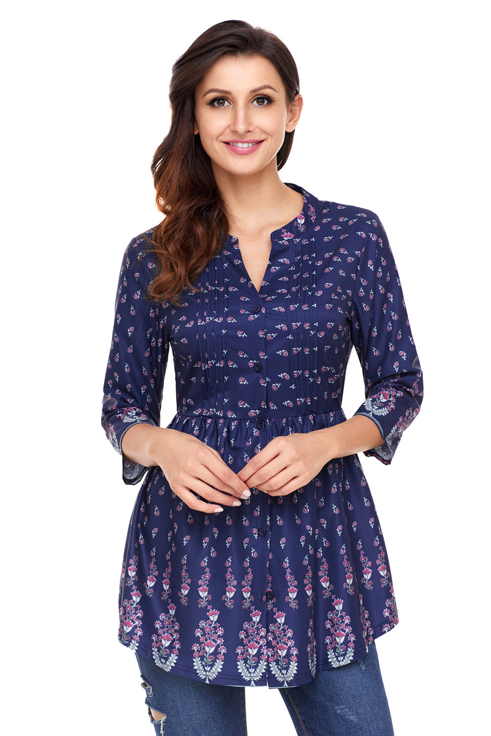 Peacock Floral Navy Chiffon Button-Down Pin Tuck Tunic