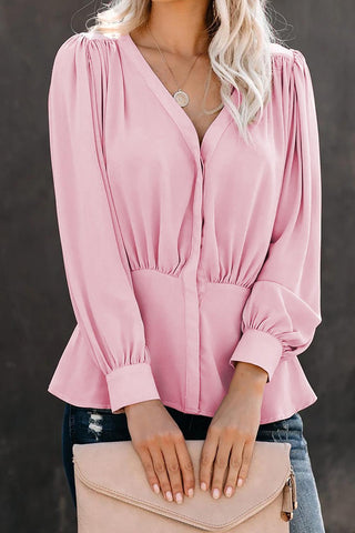 POPHERS Pink Button Down Pleated Blouse