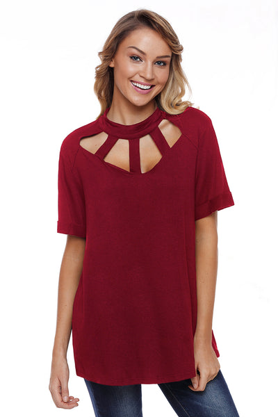 Burgundy Cage Design High Neck Top