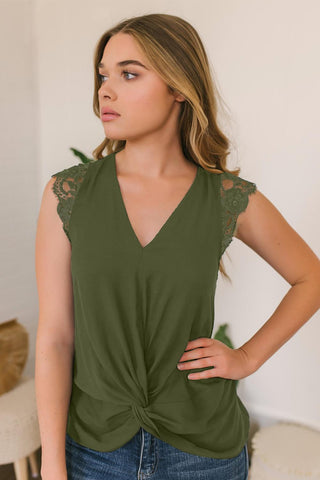 Green Lace Cap Sleeve Twisted Knot Top