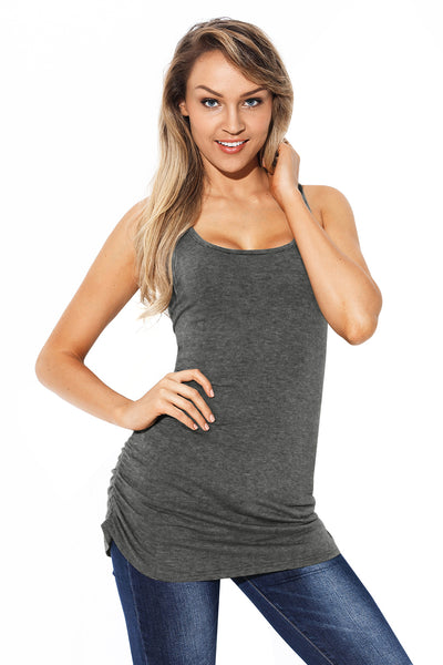 Gray Racerback Tank Top with Ruched Sides